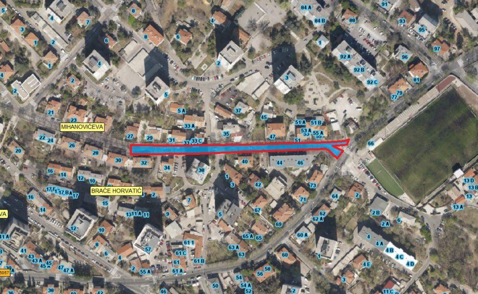 Prikaz zone zahvata na sanaciji kolnika u Mihanovićevoj ulici