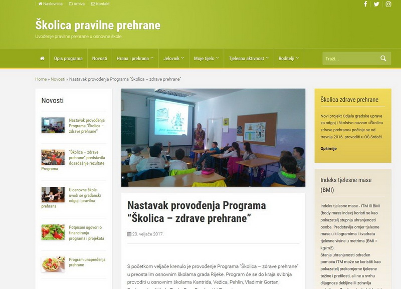 Web stranica Školica prehrane