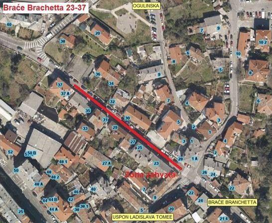 Prikaz zone zahvata na mjestimičnoj sanaciji kolnika ulice Braće Branchetta