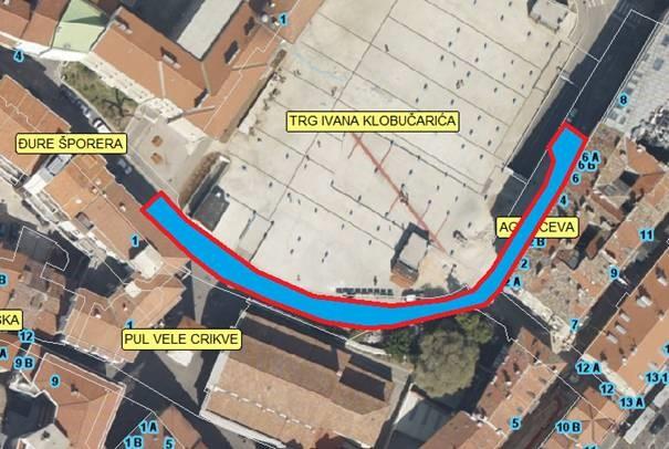 Prikaz zone zahvata na sanaciji kolnika Agatićevoj ulici
