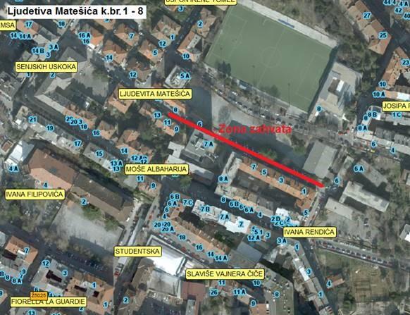 Prikaz zone zahvata na mjestimičnoj sanaciji kolnika u Ulici Ljudevita Matešića