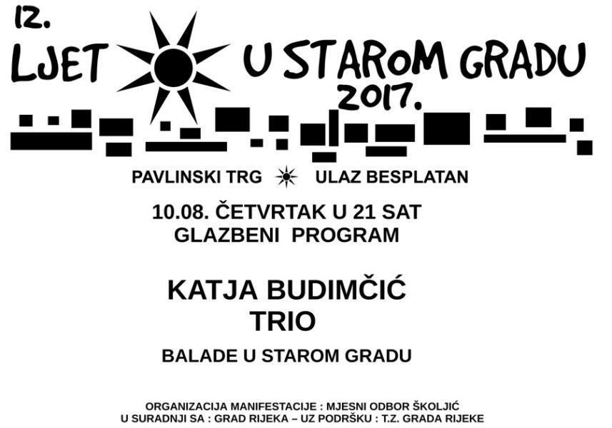 Najava koncerta Balade u Starom gradu Katja Budimčić Trio plakat