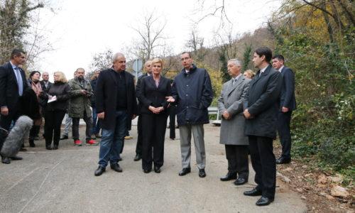 Predsjednica Kolinda Grabar-Kitarović na obilasku klizišta Grohovo