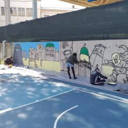 Oslikavanje zida košarkaškog igrališta na Zametu
