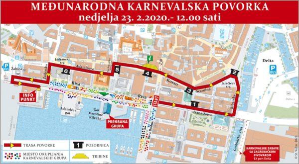 Kretanje Međunarodne karnevalske povorke 23. 2. 2020.