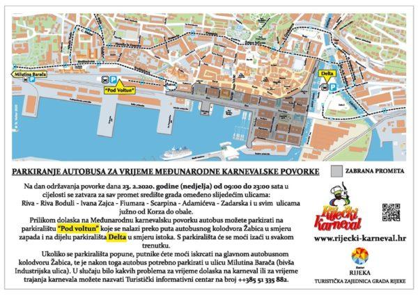 Parkiranje autobusa na dan Međunarodne karnevalske povorke 23. 2. 2020.