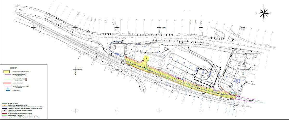 Prikaz gradilišta pristupne ceste poslovno-stambenom kompleksu Krnjevo