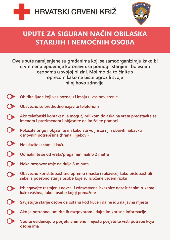 Upute za pomoć starijima u doba epidemije koronavirusa - Hrvatski Crveni križ