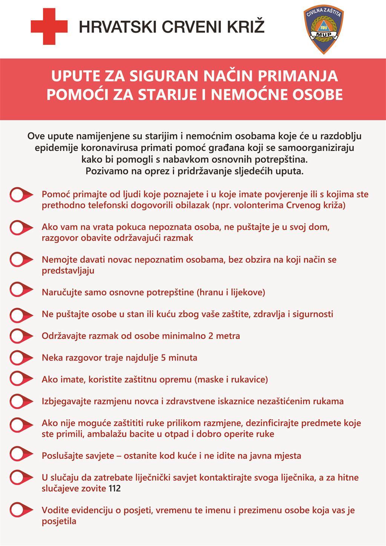 Upute za siguran način primanja pomoći u doba epidemije koronavirusa za starije i nemoćne osobe u