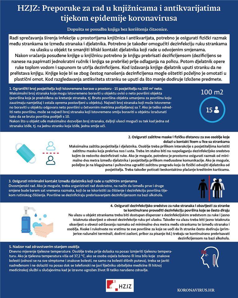 Preporuke za rad u knjižnicama i antikvarijatima (izvor: Facebook koronavirus.hr)