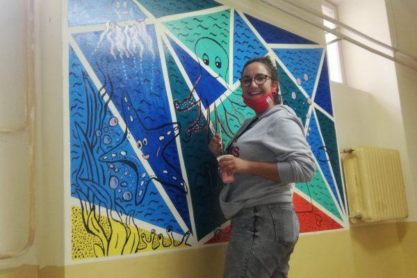Hrvatska volontira 2020 Mural u 1. riječkoj gimnaziji