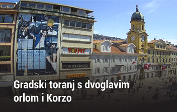 Gradski toranj s dvoglavim orlom i Korzo