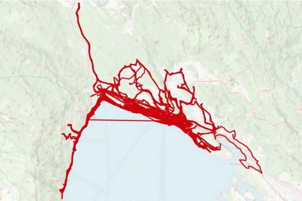 Trase korištenja RiCiklete ožujak rujan 2020