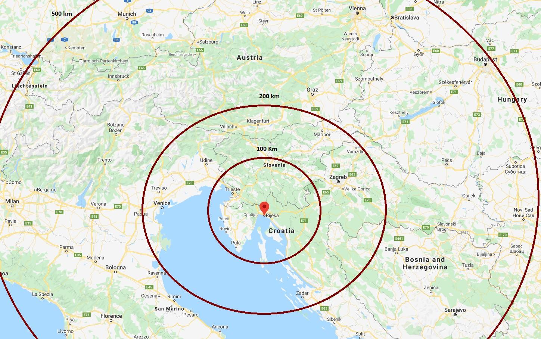 Udaljenost Grada Rijeke od tuzemnih i inozemnih središta