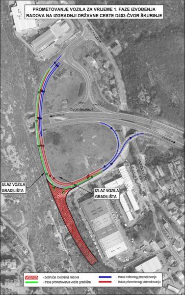 Privremena signalizacija-D403 Cvor Skurinj trasa prometovanja