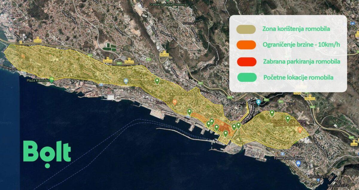 Boltova mapa lokacija električnih romobila u Rijeci