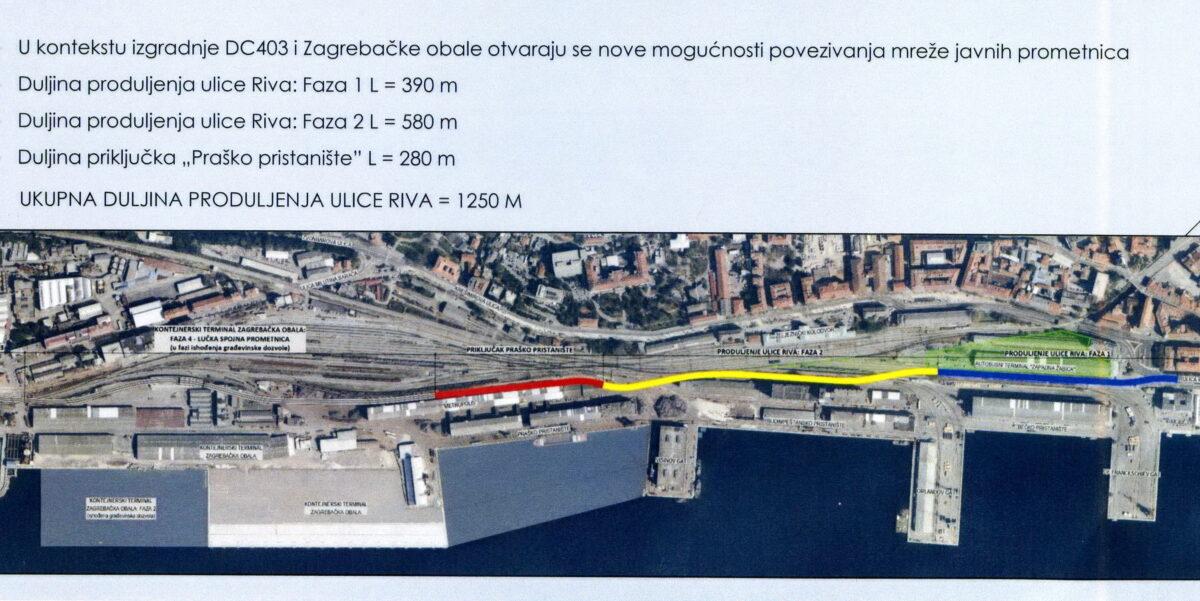Spajanje ceste D404 i D403, produžetak ulice Riva