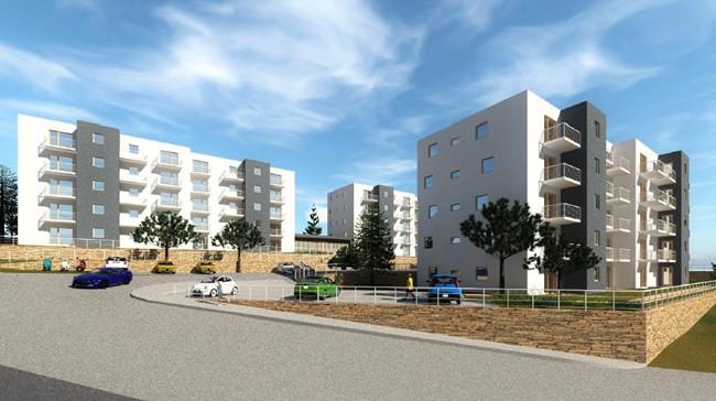 Vizualizacija budućih POS-ovih zgrada na Martinkovcu, pogled s jugozapada